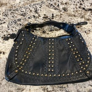 Isabella Fiori bronze studded large hobo bag